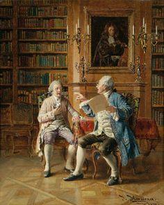 Coisas de Terê→ Johann Hamza (1850 – 1927) - 'Argument in the Library'.