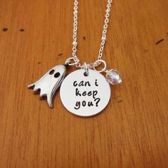 Halloween Necklace. Can I keep you? Ghost necklace. Halloween gift. Swarovski Elements Crystal. Hand Stamped.