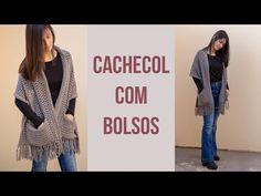 Cachecol com Bolsos @crisbenvenutoatelie - YouTube Crochet Cardigan, Crochet Scarves, Crochet Clothes, Crochet Wrap Pattern, Crochet Patterns, Crochet Crafts, Crochet Projects, Drops Delight, Drops Kid Silk