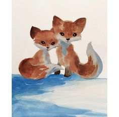 Watercolor Fox Art Nursery Art Kids Art por SweetPeaAndGummyBear