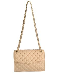 "NEW! Rebecca Minkoff Leather ""Quilted Mini Affair"" with Studs, Biscuit, Goldtone #RebeccaMinkoff #ShoulderBag #Crossbody"