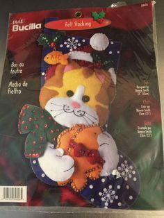 Vintage Bucilla Felt Stocking Kit NIP Cat Kitten Xmas Craft Sequins Project Gift #Bucilla