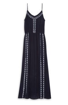 Primark - Vestido largo negro bordado