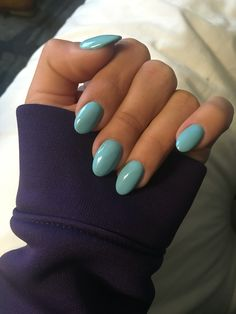 Tiffany's Blue almond shaped nails