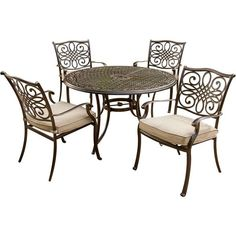 Seasons 5pc Cast Iron Dining Set - Cambridge : Target 48 Round Dining Table, 5 Piece Dining Set, Dining Chair Cushions, Outdoor Dining Chairs, Patio Table, Table And Chairs, Dining Area, Dining Sets, Seat Cushions