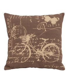 Take a look at this Brown 'Paris' Bicycle Pillow by UMA Enterprises on #zulily today!
