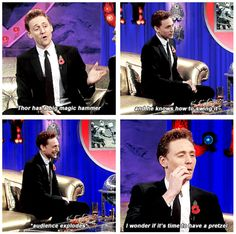 Tom Hiddleston on Alan Carr's Chatty Man Thomas William Hiddleston, Tom Hiddleston Loki, Chatty Man, Alan Carr, Avengers, Loki God Of Mischief, British Boys, Lady And Gentlemen, Interesting Faces