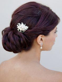 Brooch Style Bridal Hair Comb ~ Maya- I like the petite size