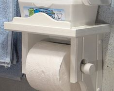 White Toilet Paper Holder with Shelf Nice solid wood product with a white polyurethane finish to kee Wood Toilet Paper Holder, Toilet Roll Holder With Shelf, Ideas Baños, Decor Ideas, Rustic Bathroom Decor, Suites, White Wood, Small Bathroom, Master Suite