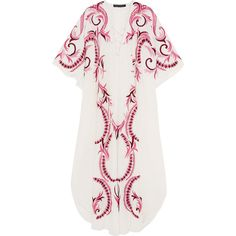 Melissa Odabash + Julien Macdonald Iris embroidered silk kaftan ($830) ❤ liked on Polyvore featuring tops, tunics, dresses, white silk top, white top, silk top, silk slip and embroidered kaftan