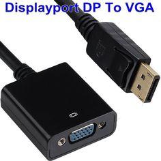 Dp a vga cable 1080 p chapado en oro estándar displayport a vga adaptador convertidor para tv proyector de pantalla y multi-visualización de la pantalla