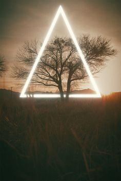 """Lightime"" (Photography + Digital) • (16"" x 24"") #art #photograph #photo #graphicdesign #light #triangle #glow #field #photography #outdoors #tree #night #dark #dusk #sunset #travel #neon #artwork #gallery #contemporaryart #modernart #artist #artsy #creative #artistic"