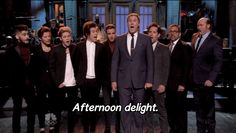 "One Direction Joins Cast Of ""Anchorman 2"" In A Rendition Of ""Afternoon Delight."" ""Now we are Nine Direction."""