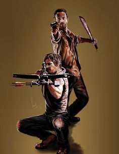 Rick Grimes Daryl Dixon - The Walking Dead Daryl Twd, Daryl And Rick, Daryl Dixon, The Walking Dead 2, Walking Dead Season, Walk The Earth, Dead Inside, Stuff And Thangs, Dead Man