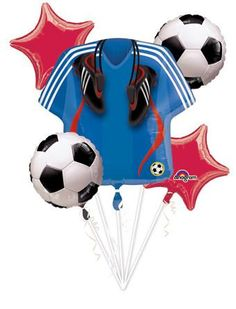 A Soccer Balloon Bouquet is perfect for your all-star soccer party! Soccer Balloon Bouquet includes a giant soccer jersey balloon and soccer balloons. Soccer Birthday Parties, Soccer Party, Soccer Banquet, Football Birthday, Sports Football, Soccer Boys, Soccer Crafts, Soccer Decor, Soccer Theme