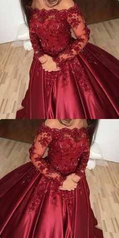 burgundy prom dress, off shoulder ball gowns, lace long sleeves prom dress 9182 #LoveDresses #longpromdress #charmingpromgown #fashionpromdress #elegantpartydress #offshoulderpromdress #burgundypromgown