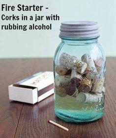 Ingenious Campfire Starters... plus on boit de bouteilles de vino, mieux réussirons nous à partir le feu!!