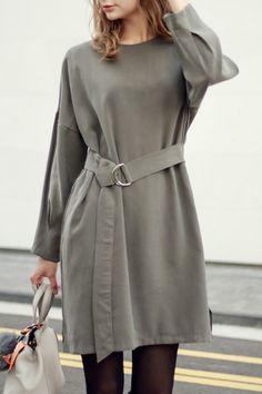 Long Sleeve Self-Tie Belt Grey Dress