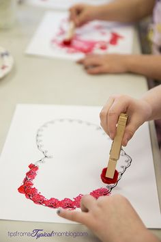 Valentine Pom Pom Painting for Preschoolers : Preschool Valentines Pom Pom Painting This is a fun and simple activity for preschoolers. My class had so much fun with this project. Preschool Valentine Crafts, Valentines Day Activities, Valentines For Kids, Valentine Box, Valentine Wreath, Valentine Ideas, Valentine's Day Crafts For Kids, Mothers Day Crafts, Toddler Crafts