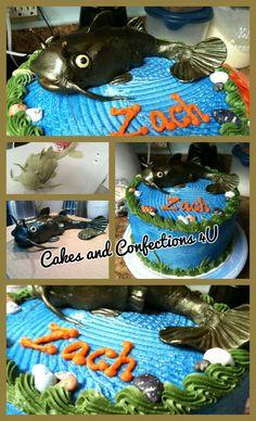 Birthday cake catfish fishermen theme... hand sculpted fondant catfish air brushed...