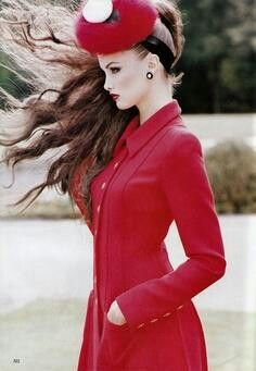 Chanel red coat ✿⊱╮