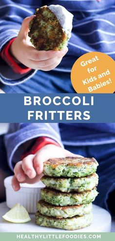 These broccoli fritters are packed with broccoli and are perfect for lunch, a snack or part of the main meal. Great for fussy eaters, toddlers and their texture is perfect for babies. Gluten-free, egg-free and dairy-free tried options given for those with allergies.   #broccoli #broccolifritters #babyledweaning #kidsfood #fussyeating #fritters