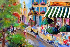 Bon Vie Cafe  is an original painting done by me Elaine Cory. It is on a gallery wrapped canvas 24 x 36 x 3/4. It is wired, ready to hang or