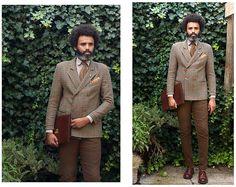 Dualleh Abdulrahman - Harris Tweed Double Breasted Blazer, We Flower Shirt, Mundi Business Organizer - Time for tweed!