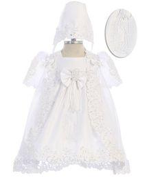 White Baby Girls Flower Dress 2 Pc Bonnet Christening Baptism Dedication New 111