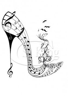 Shoe art with something for everyone from bubbles to black velvet among many other designs. Music Drawings, Art Drawings, Music Notes Art, Music Tattoo Designs, Flower Shoes, Shoe Art, Fashion Sketches, Doodle Art, Fashion Art