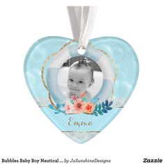 Bubbles Baby Boy Nautical Dot Lace Floral Heart Ornament - home gifts cool custom diy cyo How To Make Ribbon, Heart Ornament, Family Memories, Baby Cards, Beautiful Babies, Home Gifts, Nautical, Bubbles, Baby Boy