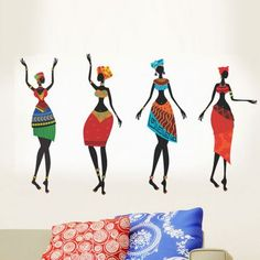 Decal Dzine Colorful African Women Wall Sticker - Add oodles of style to your home with an exciting range of designer furniture, furnishings, decor items and kitchenware. We promise to deliver best quality products at best prices.