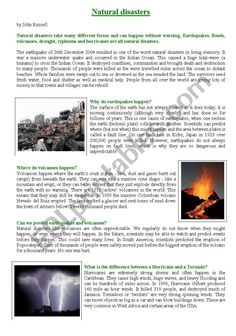This is an article about natural disasters written by John Russell. While reading the text, students learn about these problems we are facing and can do some activities related to these phenomena. Essay Writing Skills, English Writing Skills, Teaching English, Learn English, Reading Comprehension Worksheets, Vocabulary Worksheets, Reading Passages, English Vocabulary Words, English Grammar