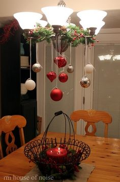 Really cute to dress up a table - and its out of reach, away from the little ones! -- darin and I decorated our chandelier this way last Christmas and it was so pretty! Plan on doing it again this year.