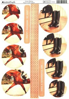 Kanban Interests and Hobbies - Horse Riding - die cut paper craft toppers