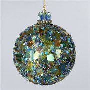 Peacock Sequin and Beaded Mosaic Christmas Ball Ornament - I'm thinking Reception decor!