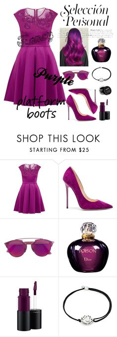 """""""Fancy and purple"""" by andra03 ❤ liked on Polyvore featuring Ted Baker, Jimmy Choo, Christian Dior, MAC Cosmetics, Alex and Ani and NYX"""
