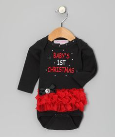 Take a look at the Black & Red '1st' Ruffle Bodysuit - Infant on #zulily today!