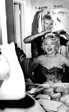 Marilyn getting her hair done...