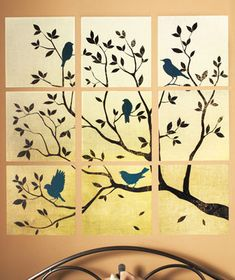 9-Pc. Wall Art Appliqué Sets  i want to paint my own but with cherry blossoms on canvis