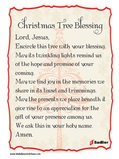 Christmas Tree Blessing: Download a Christmas Tree Blessing and use it as part of your home or class celebration. #Christmas #Catholic #Prayer