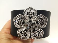 Black Leather Bracelet with silver by ChristyKeysCreations on Etsy, $24.00