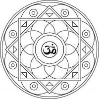 Mandala Om. Mandala para pintar inspirado en el mantra sagrado Om. Para imprimir, colorear, pintar.