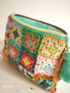 Crochet Wallet, Free Crochet Bag, Crochet Market Bag, Crochet Clutch, Crochet Purses, Crochet Blocks, Granny Square Crochet Pattern, Crochet Granny, Crochet Motif