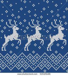 Norwegian sweater deer. Seamless Knitting Pattern