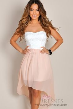 Pixie Pink and White Lace High Low Dress