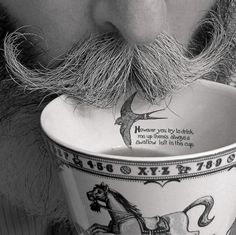 cup. mustache.