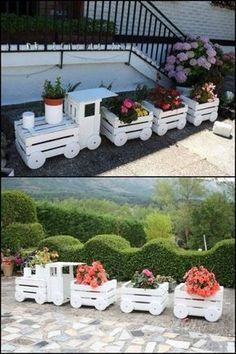 You will love this Wooden Train Garden Planter Made With Crates and it's an easy DIY you'll love to try. Check out all the ideas now and watch the video. diy garden plants Wooden Train Garden Planter Made With Crates Diy Garden, Garden Care, Garden Crafts, Garden Projects, Garden Kids, Diy Projects, Garden Boxes, Pallet Projects, Furniture Projects