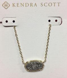 Kendra Scott - Elisa Gold Pendant Necklace in Platinum Drusy