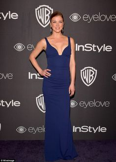 Why so blue? Adrianne Palicki highlighted her slender physique in a figure hugging blue dress